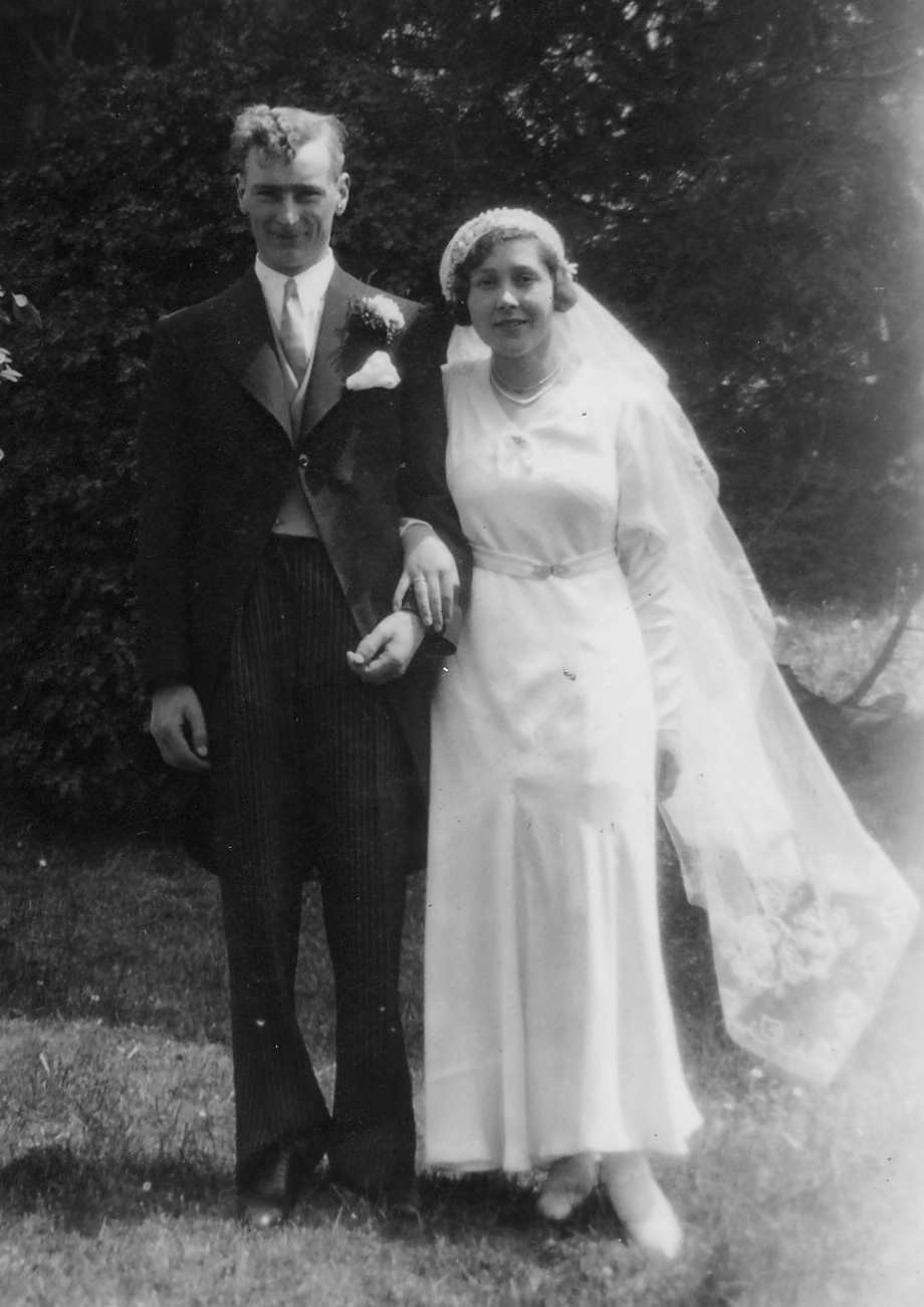 Dilys & Ken on their wedding day